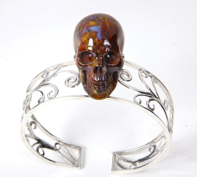Pietersite Crystal Skull Bangle
